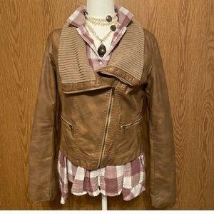 Jackets & Blazers - Tan Pleather Cropped Jacket